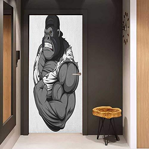 Onefzc Glass Door Sticker Decals Cartoon Image of Big Gorilla Like as Professional