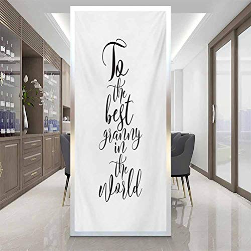 Window Privacy Film, Grandma to The Best Grandmother in The World Quote Mono, Home Window Tint Film Heat Control, W17.7 x H35.4 Inch