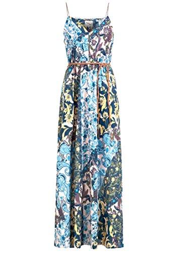 khujo XANTHIA damesjurk van chiffon met kunstlederen details maxi-jurk met spaghettibandjes zomerjurk met bloemenpatroon