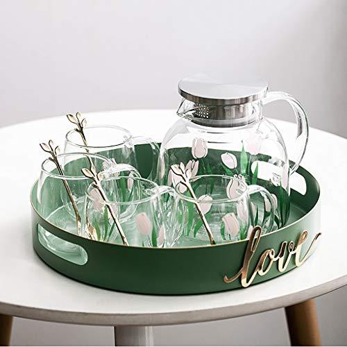 La jarra de vidrio de 1,2 l con Infusor tapa y 4 Juego de tazas, una cuchara y una bandeja jarra de agua con la manija for el café, té helado, jugo, limonada, leche, bebidas, cristalería vidrios de co