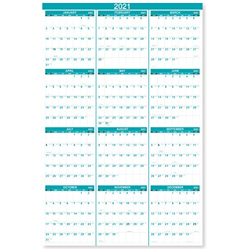 """2021 Yearly Wall Calendar - 2021 Wall Calendar with Julian Date, January 2021 - December 2021, One Page for Organizing, Premium Thick Paper, Vertical, Gift Pocket, 34.8"""" x 22.8"""" (Open)"""