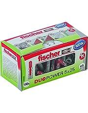 fischer DUOPOWER 5 x 25, universele pluggen, krachtige 2-componenten pluggen, kunststof pluggen voor bevestiging in beton, baksteen, steen, gipsplaat enz, zonder schroeven, 100 stuks