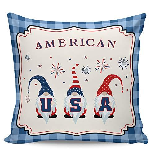 Scrummy Fundas de almohada de 60,96 x 60,96 cm para el día de la independencia, divertido enano, fuegos artificiales, color azul búfalo, a cuadros, funda de cojín cuadrada para decoración del hogar
