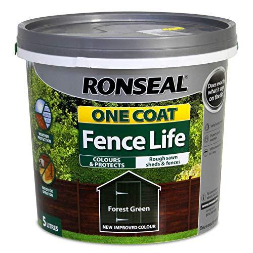 Ronseal RSLOCFLFG5L One Coat Fence, Forest Green, 5 Litre
