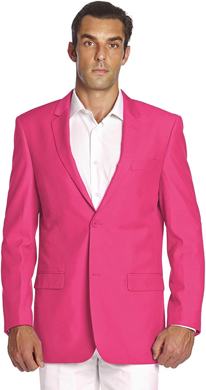 CONCITOR Men's Suit Jacket Separate Blazer Coat Solid HOT PINK Color Two Button