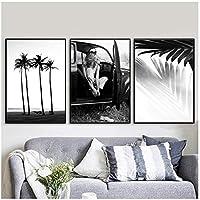 壁の芸術、手のひらの葉ツリーガールビーチキャンバス絵画北欧のポスターとプリント黒と白の壁の写真リビングルームフレームなし