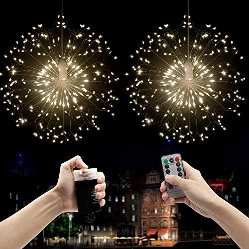Beautyshow LED Lichterketten Feuerwerk Licht, Hängend Feuerwerk Licht Dekorations 120 LED 8 Modi IP44 wasserdichte Kupferdraht Hängeleuchte Lichter für Indoor Outdoor (Warmweiß)