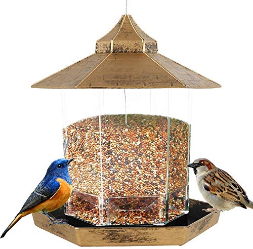 Comedero Colgante para Pájaros Silvestres,Gazebo de Plástico Impermeable a Prueba de Ardillas, Contenedor de Comida para Pájaros Silvestres con Techo para Decoración de Jardín (Oro)