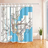dsgrdhrty New Yorker U-Bahn Karte Badezimmer Duschvorhang dekorativen Stil wasserdicht 180x180