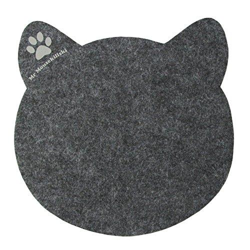 MR MOUSEKILLSKI - stylisches Mousepad aus hochwertigem Filz   perfekt für Katzenliebhaber   vielfältig einsetzbar als originelle Unterlage  hervorragende Anti-Rutsch-Beschichtung   anthrazit