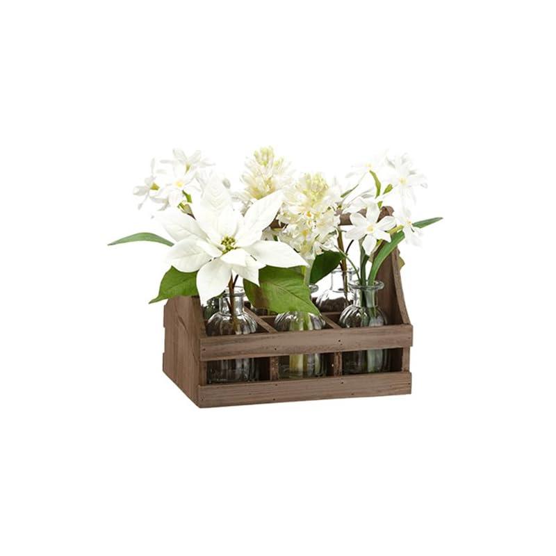 "silk flower arrangements 13"" poinsettia, paperwhite & hyacinth silk flower arrangement w/glass vases & wood carrier -white (pack of 2)"