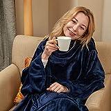 Wearable Fleece Blanket with Sleeves & Foot Pocket for Adult Women Men,Lightweight Soft Plush TV Blanket Wrap Throw with Sleeves and Adjustable Hook & Loop 79' x 67' Navy (Kangaroo Pocket)