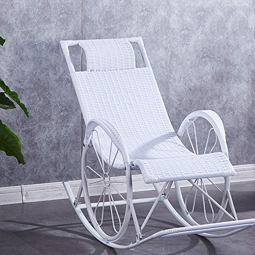 LI MING Shop Lounge Chair Mittagspause Balkon Home Freizeit Stuhl Strand Tragbarer Stuhl Faule Schaukelstuhl Stuhl Demontage (Color : White46x45x80cm)