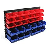 Pannello officina 30 contenitori vani utensili Supporto portattrezzi parete garage polipropilene