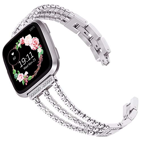 Surace Compatible with Fitbit Versa Bands Versa 2 Bands Women Bracelet with Diamond Replacement for Fitbit Versa 2 Bands Compatible for Fitbit Versa Band Versa Lite Bands Smart Watch, Silver