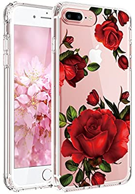 iPhone 7 Case,iPhone 8 Case,JAHOLAN Girl Floral Clear TPU Soft Slim Flexible Silicone Cover Phone case for Apple iPhone 7/iPhone 8