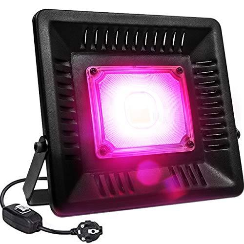 Relassy Lámpara de Planta, COB Lámpara de Planta Full Spectrum Planta Luz 50w con Enchufe de 1,7 m UE, IP67 Lámpara de Cultivo Impermeable para Plantas de Interior, Invernadero, Hidroponía
