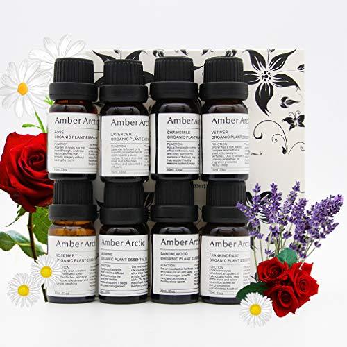 Conjunto Con 8 Aceites Esenciales Para Difusor (Rosa, Jazmín, Vetiver, Sándalo, Manzanilla, Incienso, Lavanda, Romero) Aceite Vegetal Orgánico 100% Puro 10mlx8