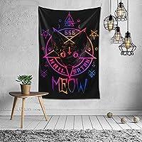 家の装飾HailSatan Meow Demonic Cat666タペストリー壁掛け寝室用多目的寮黒と白60x40インチ