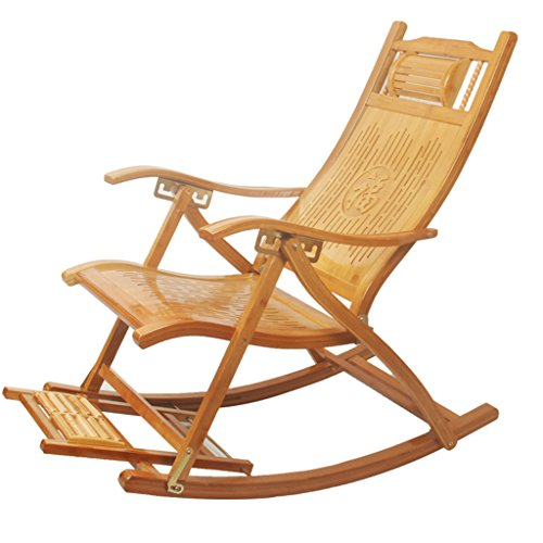 Confortable Relax Rocking Chair avec Accoudoir et Massage Repose-Pieds Inclinables Réglables Adultes Déjeuner Pliant Break Rocking Chaise D'été Siesta Lit sans Tapis