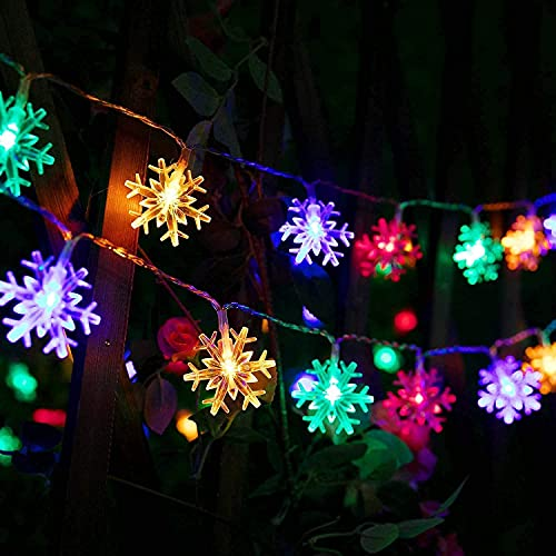 String Lights, 16Ft 50 LED Snowflake String Lights Multicolor Battery Powered Fairy Lights Outdoor 2 Modes Waterproof Festival Lighting for Garden Patio Yard Home Wedding Party Decoration