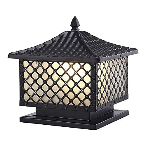 WISHVYQ Luz de Columna Impermeable al Aire Libre Farol de Columna de Vidrio a Prueba de Lluvia Luz Exterior Negra Iluminación de jardín al Aire Libre Productos de iluminación Exterior