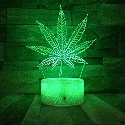 Nueva base de grietas Hojas de cáñamo LED 3D Luz de noche cambiable Weed 3D Ilusión Lámpara óptica Lámpara de mesa visual Dormitorio Decoración de fiesta 16 colores