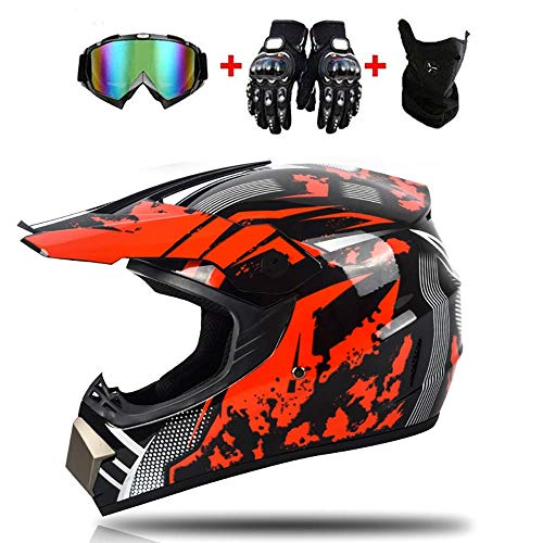 Helmet LWAJ Casco de Motocross Unisex para niños, Dot Approved Kids Youth ATV Off-Road Dirt Bike Motocross Gear Combo Gloves Gafas para niños y niñas Motocross (52-59cm)