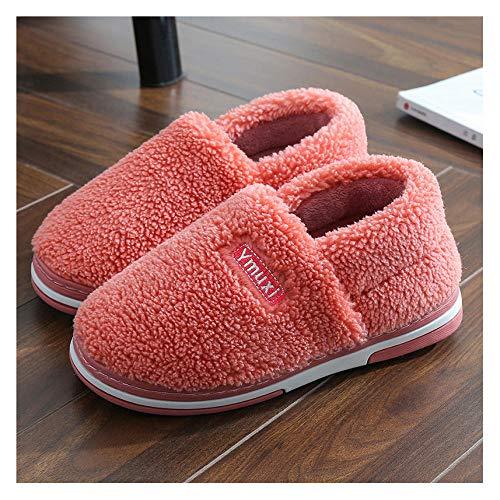 YUTJK Schaum Hausschuhe Weiche Plüsch Fleece Gefüttert rutschfeste Pantoffeln für Drinnen und Draußen,Winter Home Paar Baumwolle Schuhe-Red_5/5.5UK