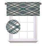 Cenefas cortas a cuadros, estilo rústico inglés vintage con aspecto moderno en colores suaves, cortinas de ahorro de energía para cortinas de baño, 42 x 45 cm, color gris claro y blanco