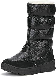 Lucidi Stivali Alti Inverno delle Donne, Impermeabile Resistente all'Usura Slip-in Stivali Caldi Chiuse, Caldo Peluche Ant...