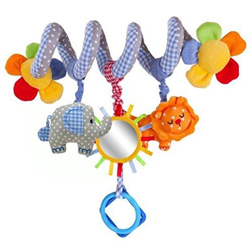PIXNOR Bébé Jouet de Poussette Berceau Lit Hochet Jouets Animales éducatifs en Peluche Spirale d'activités Hanging Jouets
