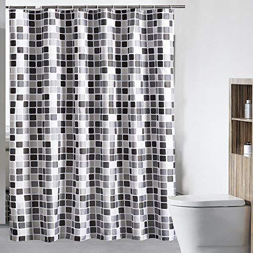 Mozaïek patroon douchegordijn groot polyester anti-schimmel waterdicht wasbaar badkamer douchegordijn badliner met gratis haken/ringen zwart/grijs/wit 72 x 78 Inch