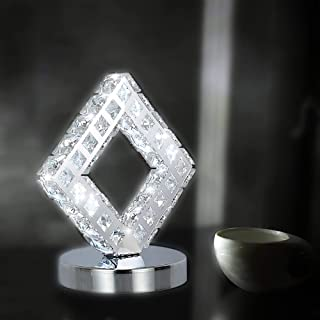AUA Lampe de table moderne en cristal, lampe à cristal LED, lumière blanche 6000 K.