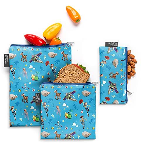 Simple Modern Ellie Bolsa de sándwich reutilizable para almacenamiento de alimentos, paquete de 3, Toy Story: Andys Toys