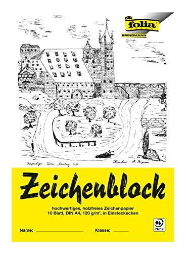 folia 8104 - Zeichenblock mit Leinenecken 120 g/m², DIN A4, 10 Bogen, weiß, hochwertiges, holzfreies Zeichenpapier