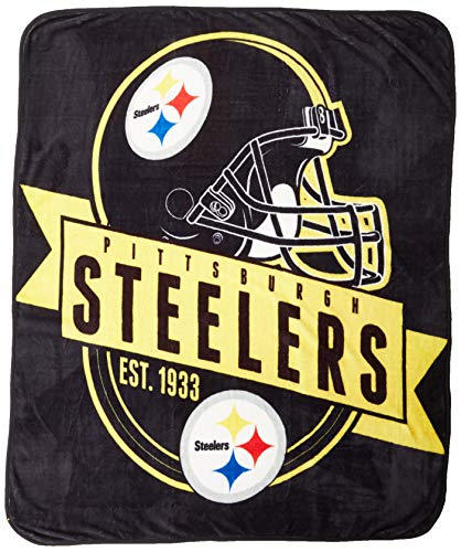 Officially Licensed NFL Pittsburgh Steelers 'Grand Stand' Raschel Throw Blanket, 50' x 60', Multi Color