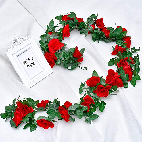 Whaline 2 Pack Fake Rose Vine Flowers Plants, 15ft Red Artificial Flower Hanging Rose Garlands, for Home Hotel Office Wedding Party Garden Craft Art Decor, Arch Arrangement Decoration