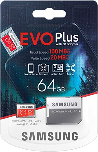 Samsung Evo Plus microSD SDXC Class 10 memory card New (2020) Model upto 100MB/S Full HD & 4K UHD with Adapter (64GB)