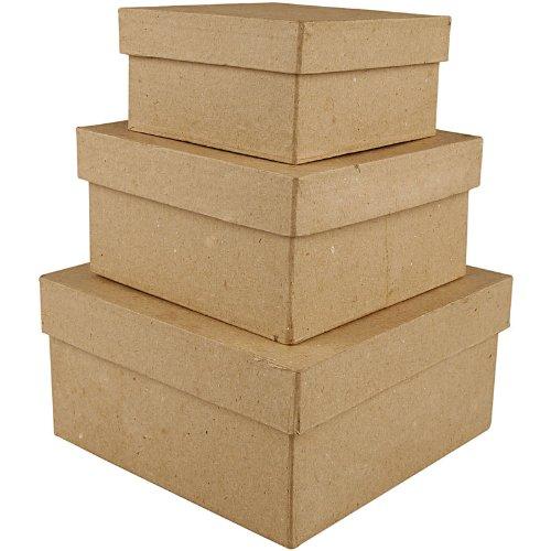 Creativ 10+12 5+15 cm Papier Mache Square Boxes 3 Assorted