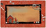 Drymate 12 by 20-Inch Dog Bowl with Small/Medium Place Mat in Swirl Border Design, Red