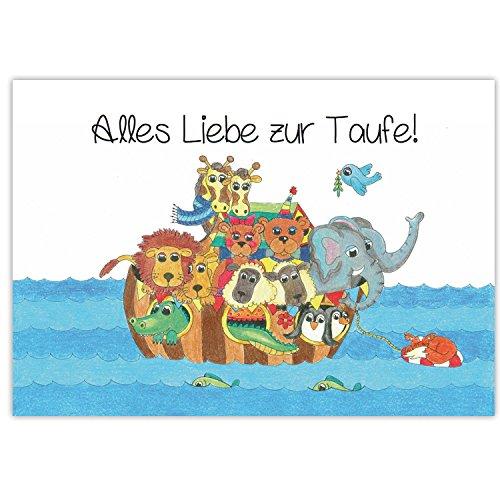 Arche Noah mit Tieren - Glückwunsch zur Taufe - Alles Liebe zur Taufe - Taufkarte Glückwunschkarte Taufe, Taufkarte Baby Mädchen Jungen, Karte Arche Noah, Karte zur Taufe, Arche Noah Karte