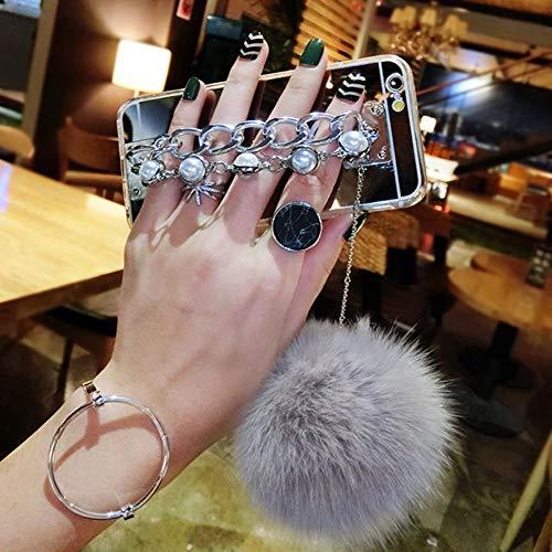 JVIJKHUY Funda para telefono movil Espejo TPU contraportada para iPhone 7 8 Plus 6 6S Plus contraportada con Piedras Preciosas Pulsera de la Borla de la Bola de la Piel de Conejo Pompom