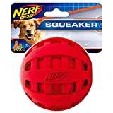 Nerf Dog Rubber Ball Dog Toy with Checkered Squeaker, Lightweight, Durable and Water Resistant, 4 Inch Diameter for Medium/Large Breeds, Single Unit, Red