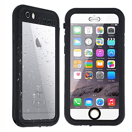 Co-Goldguard iPhone 6/6S Waterproof Case,Underwater IP68 Full Sealed Snowproof Dustproof Shockproof Protective Clear Cover for Apple iPhone 6/6S(4.7 inch) Black