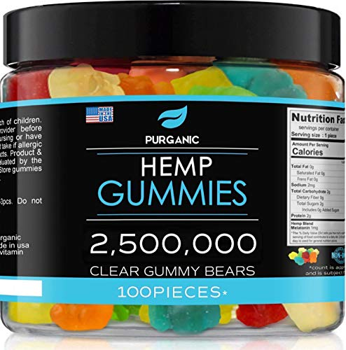 Purganic Hemp Gummies - Great for Peace & Relaxation - Natural Tasty Real Fruit Flavors - Made in USA - 2,500,000-100ct