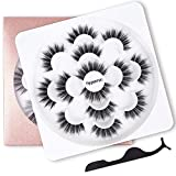 7 Pairs 6D Faux Mink False Eyelashes- Reusable Natural Look Lashes Pack, Fluffy Soft Thick Handmade Fake Eyelashes,Wispy Extension Makeup Fake Eyelashes, Free Gift Tweezers