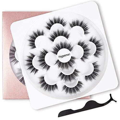 7 Pairs 6D Faux Mink False Eyelashes- Reusable Natural Look Lashes Pack , Fluffy Soft Thick Handmade Fake Eyelashes,Wispy Extension Makeup Fake Eyelashes, Free Gift Tweezers
