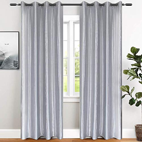 Silver Blackout Window Door Curtains 2 Panels of Modern Room Darkening Thermal Insulated Grommet Drapes and Curtains 84 Inch Length for Bedroom Living Room Window Treatments