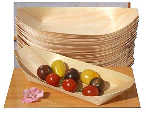 kraftz® 50PC. Madera de bambú barcos desechables vajilla para fiesta alimentos aperitivos Nibbles (190x 95mm